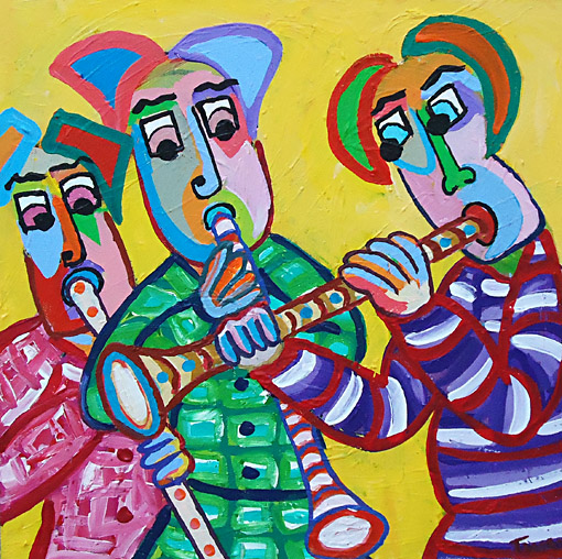 Painting Flutes By Twan De Vos 3 Musicians Playing Together Each