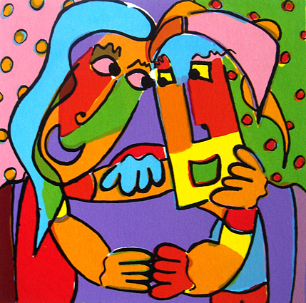 Zeefdruk paradijselijke liefde 3 zeefdruk kunst ...
