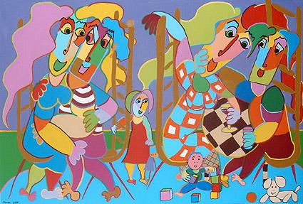 Schilderij kindercontact van twan de vos twee families die in een koreg wat zijn gaan drinken - Schilderij ingang en gang ...