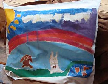 Kinderfeestje kussensloop schilderen met textielverf in wageningen