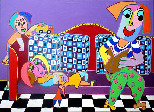 Schilderij thuisbank vader en de kinderen op de bank vader leest