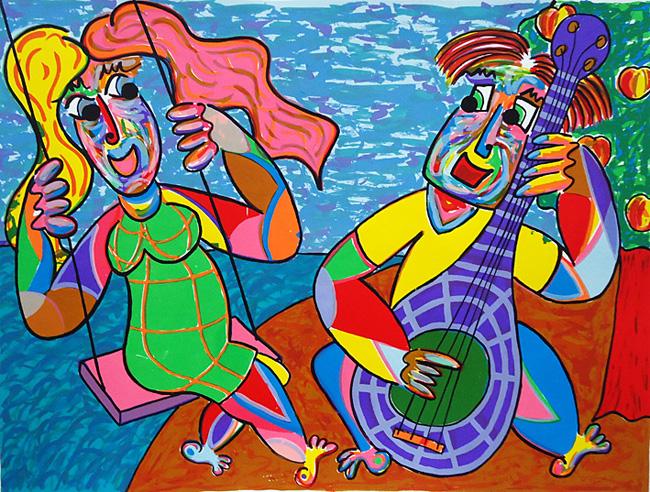 Citaten Van Bekende Kunstenaars : Zeefdruk schommel concert van twan de vos op het strand
